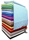 STTS International Baumwolldecke Wohndecke Kuscheldecke Tagesdecke 100prozent Baumwolle 140 x 170 cm sehr weiches Plaid Rio (Helltürkis)