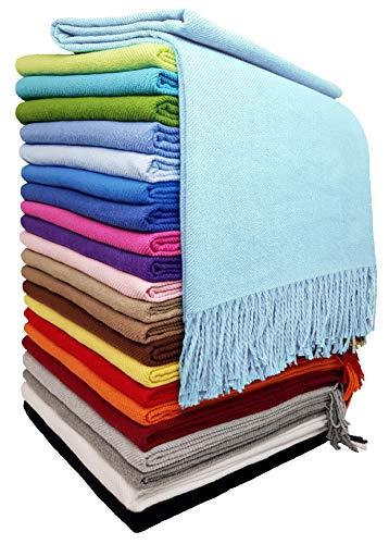 STTS International Baumwolldecke Wohndecke Kuscheldecke Tagesdecke 100% Baumwolle 140 x 170 cm sehr weiches Plaid Rio (Helltürkis)