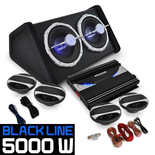 Auna Set 'Black Line 500' Impianto audio auto car sistema completo Hi Fi (5000 Watt, amplificatore, 4 altoparlanti, doppio subwoofer, cavi per collegamento)