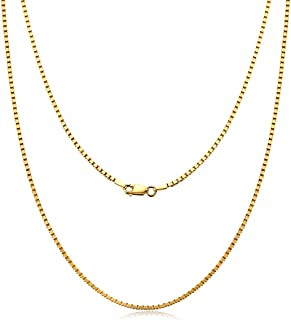 "CivetCat Rhodium Plated 925 Sterling Silver Square Box Chain Link 16""-20"" inches for Women Men Lobster Lock Closure Venice..."