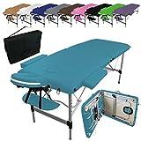 Vivezen  Table de massage pliante 2 zones en aluminium + Accessoires et housse de transport - 10...