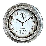 Relojes de jardín al aire libre, 12 pulgadas Retro Reloj de cuarzo silencioso Relojes al aire libre para el jardín Montado en la pared Marco de pintura de galvanoplastia jardín exterior Reloj de pared