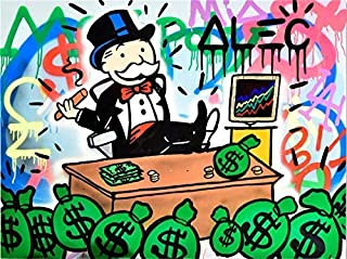 Artwu ALEC Monopoly Wall Art Home Wall Decorations for Bedroom Living Room Oil Paintings Canvas Prints 3 Sizes-756 (Unframed,24x32inch)