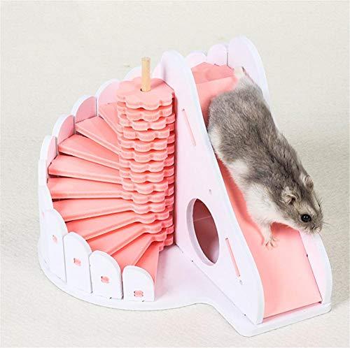 Wacemak1r - Casa de hámster con escalera en espiral y tobogán para jugar hámster y parque de juegos Molar para mascotas