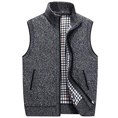 HOSD 2019 New Mens Winter Wool Sweater Vest Mens Sleeveless Knitted Vest Jacket Warm Fleece Sweatercoat Plus Size Black L