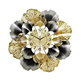 Reloj de Pared Decorativo Grande Reloj de Pared con Flor Que no Hace Tictac para Sala de Estar 3D Reloj Silencioso Moderno,59x59cm