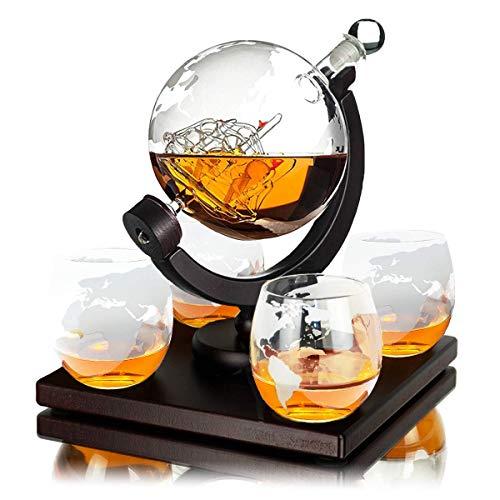 Whisiskey® Whiskey Karaffe – Globus - Whisky Karaffe Set - Vatertagsgeschenke - 900 ml - Geschenke für Männer - Inkl. 4 Whisky Gläser, 4 Whisky Steine und Ausgießer