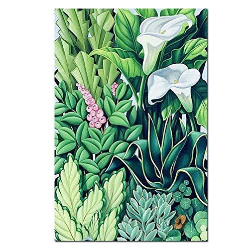 tzxdbh Bloem Poster Moderne Abstract Groene Plant Decoratieve Schilderij HD Canvas Print Art Bloem Muurfoto voor Woonkamer Home Decor F1163 32x48 Inch No Frame