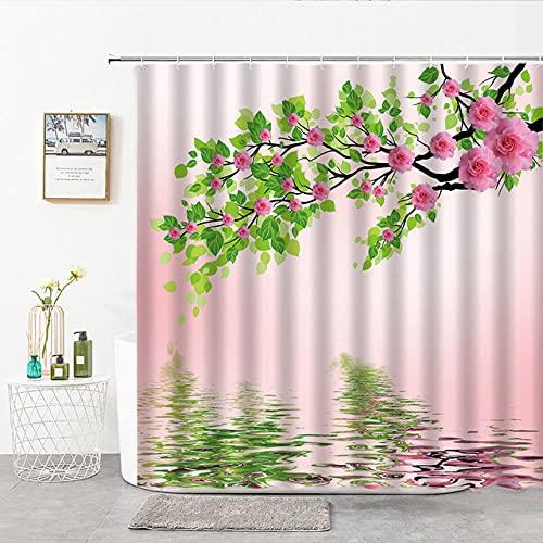 None brand Blume Pflanze Duschvorhang Handgemalte Blumen Und VöGel Drucken Rosa PfirsichblüTe Blau Lila Pflanze Badezimmer Dekor VorhäNge-W180xH180cm