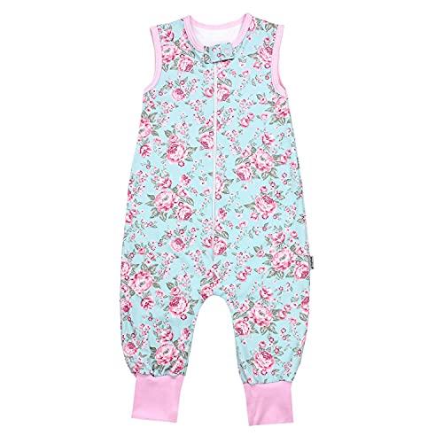 TupTam Unisex Babyschlafsack mit Beinen Unwattiert, Farbe: Rosen Grün/Rosa, Größe: 116-122