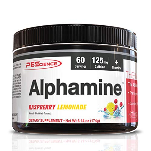 PEScience Alphamine, Raspberry Lemonade, 60 Scoops, Thermogenic Energy Powder with L-Carnitine