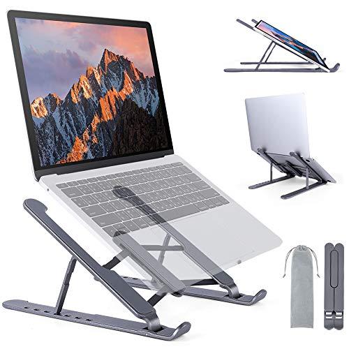 Laptop Ständer, Notebook Ständer Portable Höhenverstellung, Belüftete Wärmeableitung Stander Rutschfester Stabil Faltbar Laptop Stand Kompatibel mit MacBook, Dell, Laptops 11-21.5 Zoll (Gray)