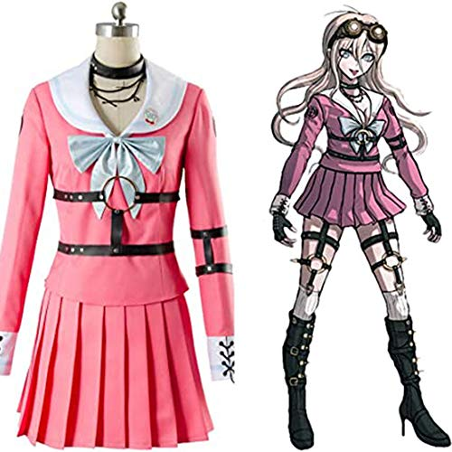 CSLOKTY Danganronpa V3 Iruma MIU Lapin Cosplay Rose Ensemble Complet Uniforme Costume Halloween Carnaval pour Ensemble Complet A-XL