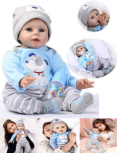 HRYEOY Handgemachtes Reborn Junge Baby Puppe Lebensechte 22 Zoll 55 cm Puppe Reborn Babys Junge Kleinkind Silikon Vinyl Magnetisch Mund Mädchen Spielzeug Weihnachten Geburtstagsgeschenk
