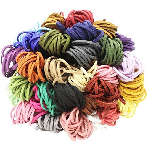 Biluer 16 Piezas 3mm x 5m Cuerda de Cuero Gamuza Cordón Ante para For Bracelet Necklace Key Rings Jewellery Gift Making DIY Crafts,16 Colores