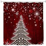 WIHVE Weihnachtliches Badezimmer-Duschvorhang-Set mit 12 Haken, Schneeflocke, roter Baum, haltbarer Stoff, Badvorhang-Set, 183 x 183 cm