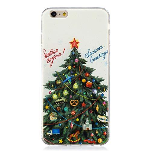Coque iPhone 6 6S 6G, Carols Etui en Silicone 3d Transparente avec Motif Noël Fun Peinture Dessin [Antichoc] Souple Gel TPU Housse de Protection Bumper Case Cover Coque pour Téléphone iPhone 6 6S 6G (4,7 Zoll) - Arbre de noel