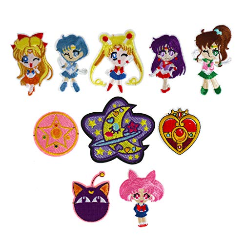 CoolChange Sailor M. Patch Set zum Aufbügeln | 10 Aufnäher mit Luna & Sailor Kriegerinnen