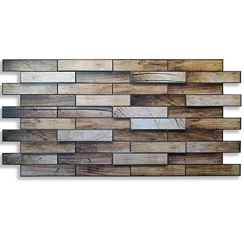 Paneles de pared PVC imitación madera efecto 3D nogal de Canadá 98 x 48 cm grosor 0,4 mm
