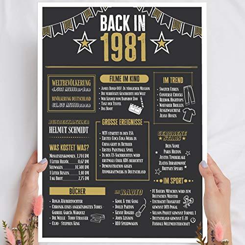 Holzbild Geschenk 40 Geburtstag 'Back in 1981' - personalisierbar zum Hinstellen/Aufhängen optional beleuchtet, 40 Geburtstag Frauen & Männer - Wand-Bild Aufsteller Dekoration - persönliches Geschenk