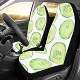 QIAOLII Autositzbezug Für Frauen Grün Gesunde Ernährung Gurke Universal Fit Auto Autositzbezüge Schutz Für Auto LKW Geländewagen Fahrzeug Frauen Dame (2 Vorne) Baby Sitzbezüge Für Mädchen