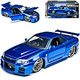 Nissan Skyline GT-R R34 Blau Brian´s Paul Walker The Fast and The Furious 1/24 Jada Modell Auto