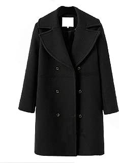neveraway Women's Casual Double-Breasted Top Wool Blend Elegant Coat Jacket