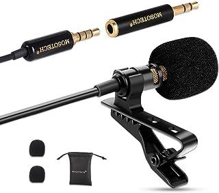 MOSOTECH Microfono Solapa Omnidireccional Lavalier Microfono de Condensador Micro para Movil Grabación Entrevista/Videoconferencia/Podcast/Dicción de Voz/Phone