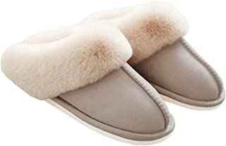 WATMAID Women's Slippers Slip on Faux Fur Fluffy Warm Comfy House Slippers Shoes for Winter Beige Size: 6-6.5