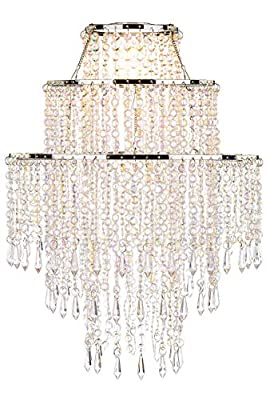 Waneway Large 3 Tiers Silver Sparkling Beads Pendant Shade with Acrylic Jewel Droplets Beads