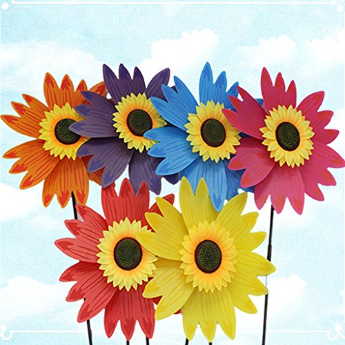 YDZN Wind Spinner Sunflower,Colorful Windmill Triple Wheel Flower Children's Toys Home Garden Decoration