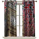 ScottDecor Union Jack Bedroom Curtains/Drapes UK Flags Background with Big Ben Festive Celebrations Loyalty 52x45 Inch Blackout Curtains for Bedroom