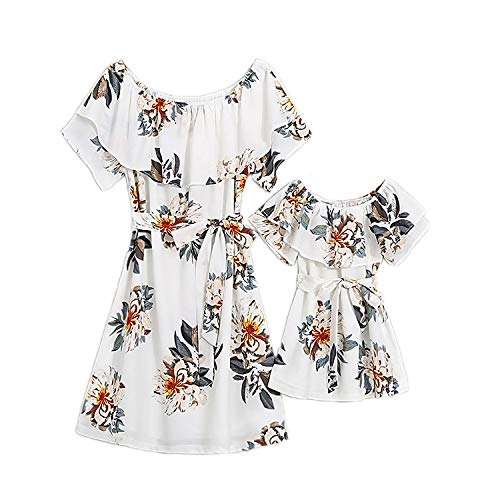 PopReal Mommy and Me Dresses Floral Printed Chiffon Bowknot Ruffles Short Sleeve Beach Mom Daughter Matching Outfits White