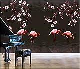 3D Foto Tapete benutzerdefinierte Wandbild Hand gezeichnete Magnolie Flamingo Wohnzimmer Wohnkultur 3D Wandbilder Tapete für Wände 3 d-250X200CM