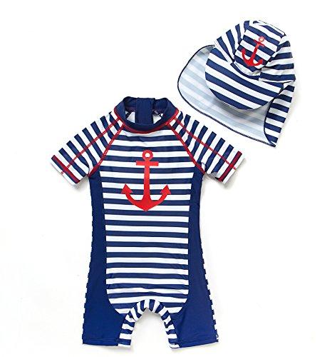 Bonverano(TM) Kids UPF 50+ Sun Protection S/S One Piece Zip Sun Suit With Sun Hat (3-6 months,...