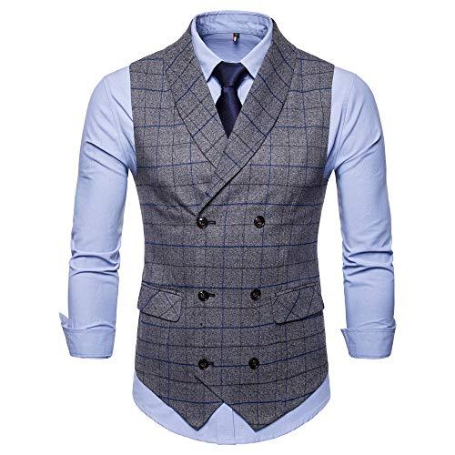 TWBB Herren Weste Tuxedo Passen Zweireiher Pullover Gitter Drucken Jacke Hochzeit Formal Waistcoat Schlank Ohne Ärmel Oberteile Tops
