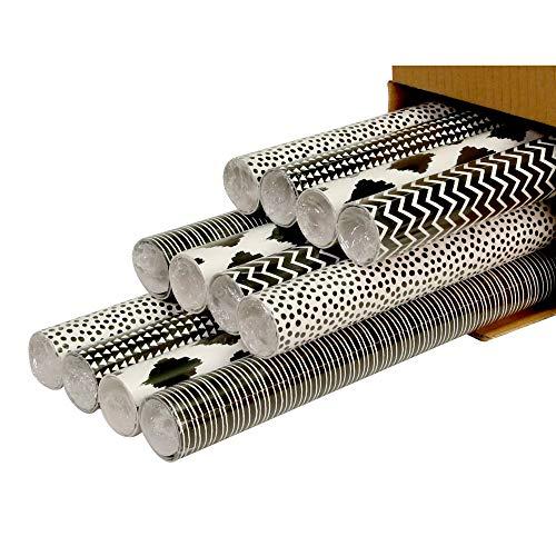 Clairefontaine 211416AMZC - Karton mit 12 Rollen Geschenkpapier Alliance 2mx0m70 60g, sortierte Motiven, 12 Rollen