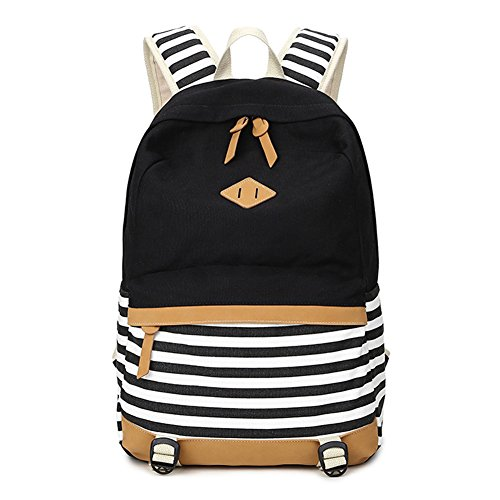 Abshoo Lightweight Canvas Backpacks for Girls School Rucksack Women College Bookbags (Black)