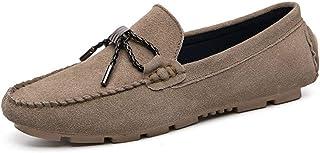 CHENDX Shoes Retro Driving Loafers for Men Boat Moccasins Solid Color Elegant Decoration Slip On Suede Leather Lug Sole Super Flexible Stitched Breathable (Color : Black, Size : 43 EU)
