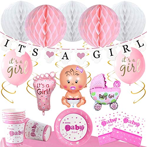 Layal Design Baby Shower Party Deko Set | Rosa Gold | Its a Girl Mädchen Babyparty Babyshower Dekoration (20 Personen)