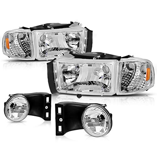 DWVO Headlight Assembly and Fog Light Combo Compatible with 1994-2001 Dodge Ram 1500/1994-2002 Dodge Ram 2500 3500, Chrome Housing Headlight Replacement, Clear Lens Fog Lamps w/Bulbs