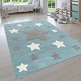 paco home tappeto per la cameretta dei bambini, con diversi design, colori e misure, per bambino e bambina, dimensione:80x150 cm, colore:blu