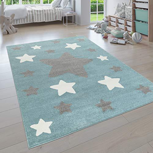 Paco Home Alfombra para Habitación Infantil, Niño/Niña Diversos Diseños, Colores Y Formas, tamaño:80x150 cm, Color:Azul