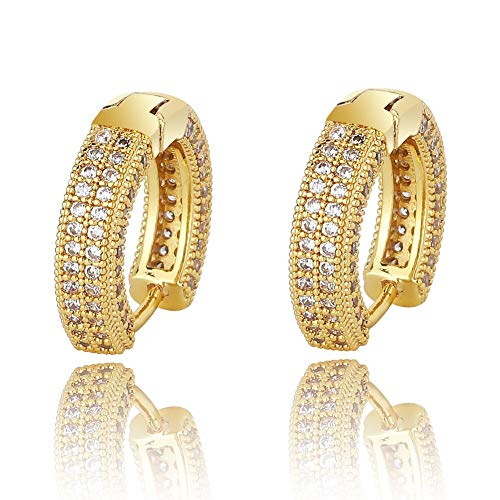 Hip Hop Cubic Zirconia Ice Out Stud Earring Bling Fully Iced Cz Huggie Round Earrings For Men Women Jewelry Gold