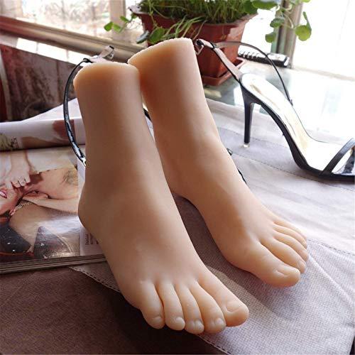 yunyu 1 Paar realistische Silikonschaufensterpuppe Fuß, flüssiges Silikon Lebensechte weibliche Beine Fuß Modellzeichnung Reflexzonenmassage Massagepraxis Manikürepraxis Filmrequisiten Ausstellung