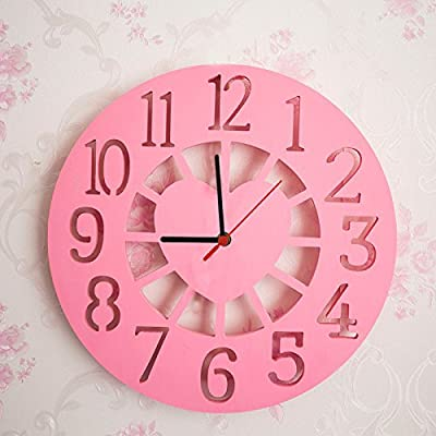 DHWM-Creative personalized wall clock, digital clock office room,Pink