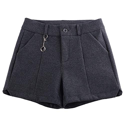 ZSCRL Modische Wollshorts für Damen, Design mit hoher Taille im koreanischen Stil, Stiefel mit weitem Bein für Mütter mittleren Alters M schwarz