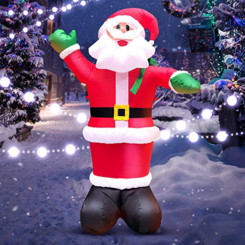 6FT Santa Inflatable Decorations Outdoor Christmas Santa Claus Giant Decorations Blow Up Decor Funny Outdoor Air Blown Christmas for Xmas Home Garden Family Lawn