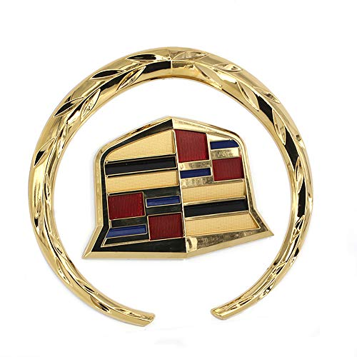 Cardiytools 6 Inch Gold Wreath Crest Front Grille Emblem Hood Badge Crown Logo Symbol Ornament Chrome for Cadillac (6 Inch)