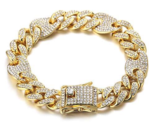 Halukakah Cadena de Oro Iced out,13MM Cadena Cubana para Hombres Miami Chapado en Oro Real de 18k Pulsera 22cm,Cz Completo Diamante,Regalo para Él